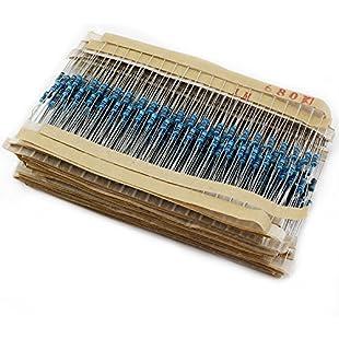Aussel 30Value 600PCS 1 Ohm-1M Ohm 1/4W Metal Film Resistor Assortment Kit (600pcs):Deepld
