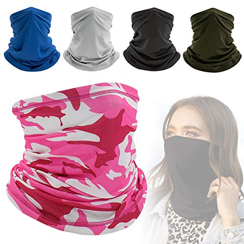 Yisscen 5 pezzi Multifunzione Bandana Maschera Il Viso, bandane senza cuciture, sciarpa maschera per il viso, bandana di protezione UV, fazzoletto da collo per correre escursionismo ciclismo