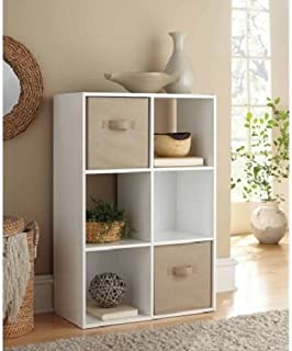 Mainstays 6 Cube Organizer, 3 open-backed cubes and 3 backed cubes (White)