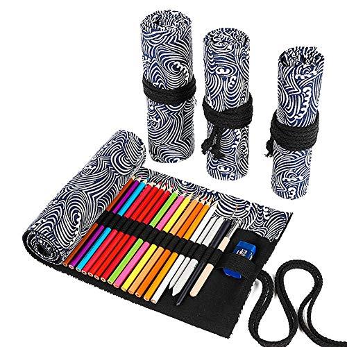Zentto Gedruckte Leinwand Farbe Bleistift Vorhang Große Kapazität Bleistift Leinwand Tasche Skizze Farbe Bleistift Vorhang Malen mit kleinen Wellen (72 Löcher)