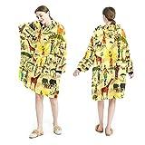 LENNEL Manta Sudadera con capucha Suave bata con capucha Mantas cálidas Sudadera Talla única para todos los adultos Pullover Textura étnica africana