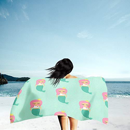 Surwin Grande Toalla de Playa de Microfibra Toalla 3D Animal Cartoons Impresión de Secado Rápido Súper Absorbente Natación Toalla de Arena Antiadherente para Playa (Sirena 3,80x180cm)