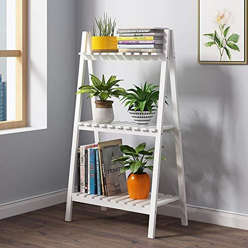 HELIn Support de Fleurs - Supports de Pot Pliables en Bambou étagère d'affichage étagère en Bois à 3 Niveaux étagère de Rangement Polyvalente pour Patio Jardin Coin Balcon Salon (Color : A)