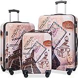 Flieks Graphic Print Luggage Set 3 Piece ABS + PC Spinner Travel Suitcase (Eiffel Tower)