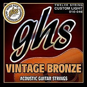 .010 .013 .020 .026 .036 .046.010 .013 .009 .015 .015 .024 - Juego / Guitarra Acústica 12-cuerdasCustom Suave85/15 Bronze WoundRoundwoundHexagonal CoreMade in USA