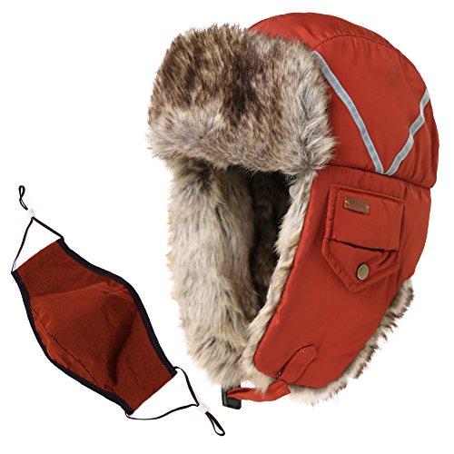 Comhats Unisex Trappermütze Fliegermütze mit Mundschutz warme Winter Bombermütze Orange