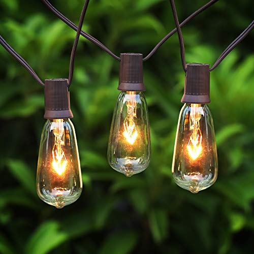PARTPHONER Outdoor String Lights, 20Ft ST40 Patio Lights Edison Glass Bulbs Hanging Lights, Weatherproof Connectable Vintage Bistro Lights for Garden Backyard Porch Balcony Wedding Party Decor, Brown