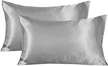 LANNOMO Satin Pillowcase for Hair and Skin with Envelope Closure | a Set of 2 Pack | Cool Smooth and Soft | Standard/Queen/King Size King(20x40) Grey