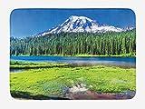 ABAKUHAUS Monte Rainier Tapete para Baño, Densa del Bosque y el Lago, Decorativo de Felpa Estampada con Dorso Antideslizante, 45 cm x 75 cm, Multicolor