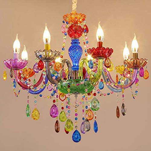 QCKDQ Crystal Chandelier, Candy-Colored Creative Crystal Pendant Lamp, Modern Crystal Chandelier for Children's Room Girl Home Decor Lighting,8lights