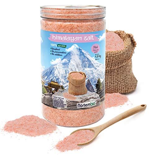 NortemBio Cristales Rosas del Himalaya 1,5 Kg. Extrafinos (0,5-1mm). Sales de Baño 100 % Naturales.