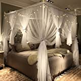 Joyreap 4 Corners Post Canopy Bed Curtain for Girls & Adults - Royal Luxurious Cozy Drapes - Cute Princess Bedroom Decoration Accessories (White, 59' W x 78' L, Full/Queen)