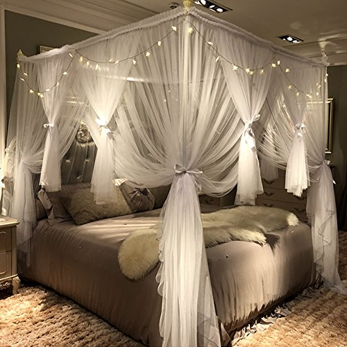 Joyreap 4 Corners Post Canopy Bed Curtain for Girls & Adults - Royal Luxurious Cozy Drape Netting - 4 Opening Mosquito Net - Cute Princess Bedroom Decoration Accessories (White, 47' W x 78' L, Twin)