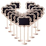 AUSTOR 14 PCS Mini Decorative Boarder Chalkboard Signs with Stand Black Board for Weddings Place Cards, Parties, Message Board Signs and Decorating