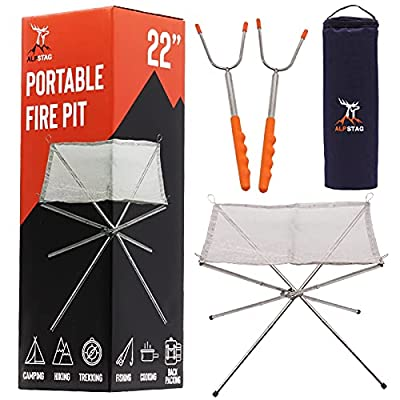 ALPSTAG Portable Fire Pit | Folding Fire Pit for Camping, Travel and More | 22'' Stainless Steel Collapsible Fire Pit Bowl | Camping Fire Pit With Carry Bag and Telescopic Forks from ALPSTAG