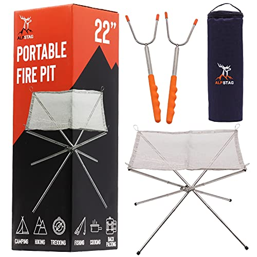ALPSTAG Portable Fire Pit   Folding Fire Pit for Camping, Travel and More   22'' Stainless Steel Collapsible Fire Pit Bowl   Camping Fire Pit With Carry Bag and Telescopic Forks