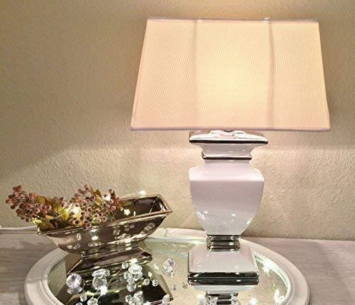 DRULINE WHITE LADY Keramik Lampe 36cm Lampenfuß Lampenschirm Weiß Nachttischlampe Shabby