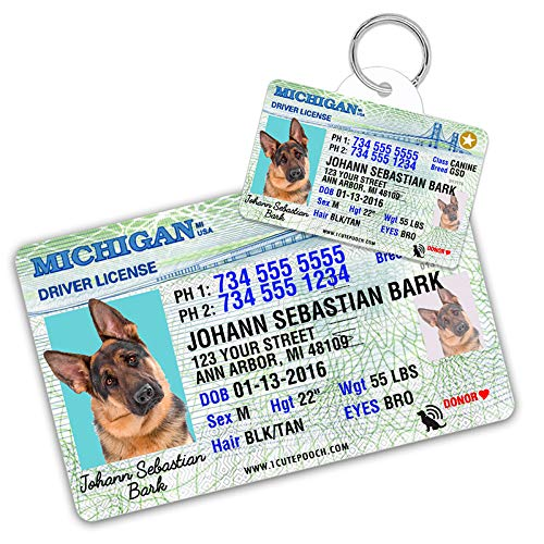 Michigan Driver License Custom Dog Tag for Pets and Wallet Card - Personalized Pet ID Tags - Dog Tags for Dogs - Dog ID Tag - Personalized Dog ID Tags - Cat ID Tags - Pet ID Tags for Cats