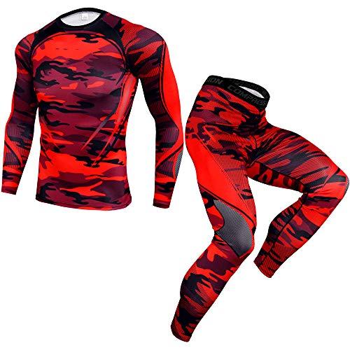 Männer Sportbekleidung Set Camouflage Fitness Trainingsanzug Winter Sportswear Laufset Sport Anzug Radsport Running Gym Jogging Kompressionsshirt und Sporthose Leggings (Camouflage Rot , 3XL )