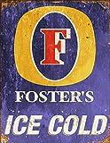 Placa de metal de 20 x 15 cm, diseño de pub shed bar hombre cueva, hogar, dormitorio, oficina, cocina, regalo de metal, retro rústico Fosters Beer Lager inspirado