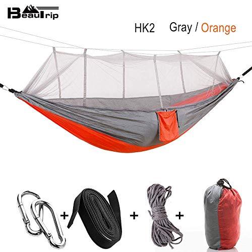 ZXL Hangmat draagbare outdoor camping hangmat met netto muggen parachute stof hangmatten bedden opknoping schommel slaapbank bed boom tent China Grijs-oranje