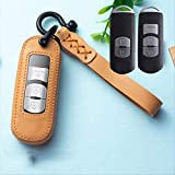 RTDFGH Autoschlüsseletuismart Key Cover Schlüsselbund Schlüsselanhänger Ringhalter Zubehör Leder Schlüsseletui, Für Mazda 2 3 6 Mx5 Cx-3 Cx3 Cx-5 2020 Gelb