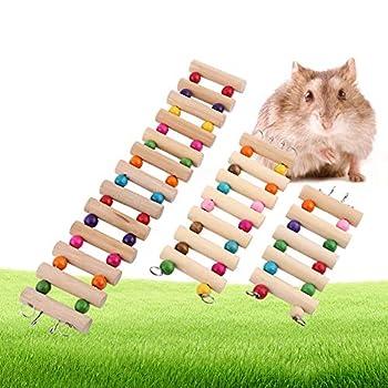 Garosa Animaux Suspendus Échelle De Hamster Escaliers en Bois Pont Pont Échelle À Monter Escaliers Oiseaux Doubles Perroquet Jouet Hamster Perroquets en Cage Jouet Hamac 3Tailles(L)