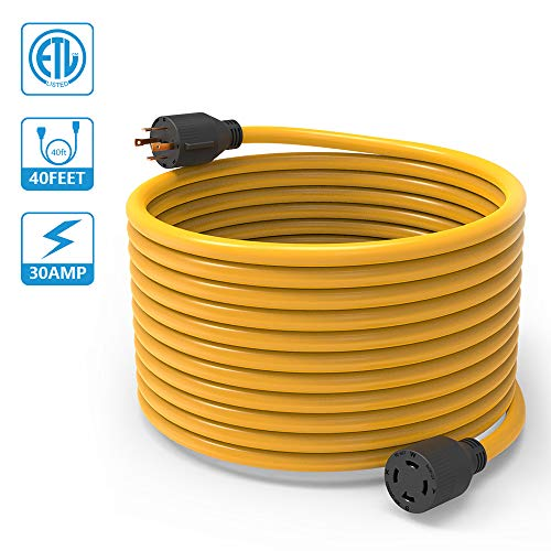 BougeRV 40 Feet Nema L14-30 Generator Power Cord Heavy Duty Electric Extension Wire 4 Prong 10 Gauge STW Cable 125/250V 30 Amp 7500 Watts L14-30P / L14-30R For Champion