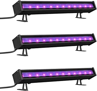 Onforu 3 Pack 24W UV LED Black Light Bar, 5ft Power Cord with US Plug and Switch, Glow in The Dark Party Supplies for Stage Lighting, Body Paint, Fluorescent Poster, Birthday Wedding Party