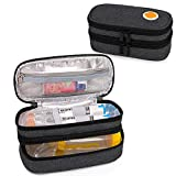 CURMIO Custodia da trasporto in EpiPen con isolamento a doppio strato per bambini, borsa portatile per medicinali per 2 EpiPen, Auvi-Q, siringhe, distanziatore, spray nasale, casa e viaggio, Nero
