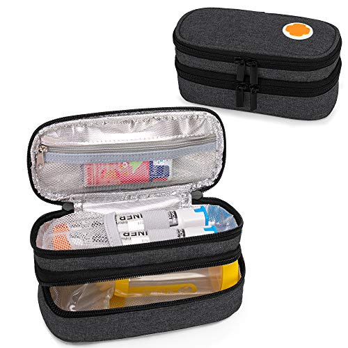 CURMIO Double Layer EpiPen Carrying Case for Kid, Portable Medicine Supplies Bag for 2 EpiPens, Auvi-Q, Syringes, Spacer, Nasal Spray, Home and Travel, Black