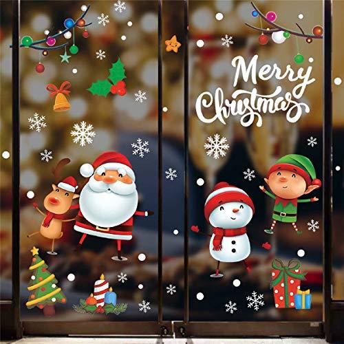 Tuopuda Natale Vetrofanie Babbo Natale Pupazzo Elk Bambini Adesivi Rimovibile PVC Wallpaper Senza Colla Stickers Finestra Stickers Vetro Addobbi Natalizi 20 * 28cm 5 Fogli