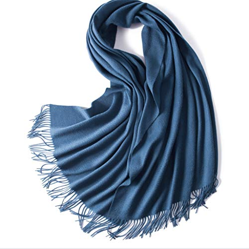 NYKK Shawl Winter Ladies 100% Cashmere Scarf Water Ripple Classic Tassel Shawl Thick Long Warm Scarf Women's Fashion Scarves (Color : P)