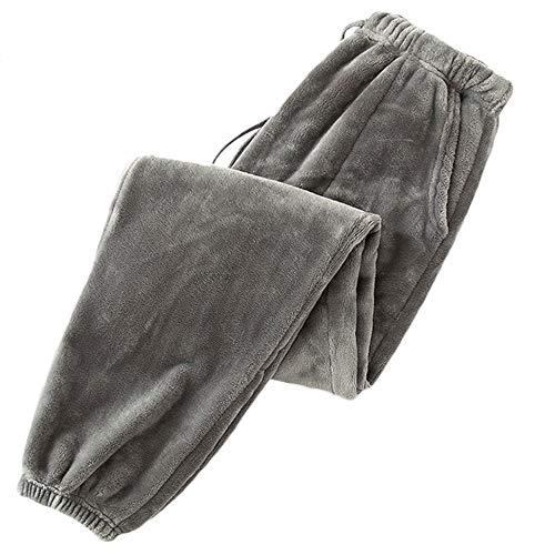 SOMTHRON Pantalones de pijama para mujer, informales, de invierno, con cintura elástica, con cordón gris XL