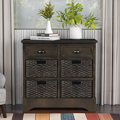Harper & Bright Designs Rustic Storage Cabinet with Two Drawers and Four Classic Fabric Basket for Kitchen/Dining Room/Entryway/Living Room, Accent Furniture (Dark Brown)