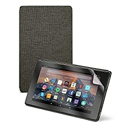 Image: Fire HD 8 tablet, 32 GB, Black + Amazon Fire HD 8 Cover, Charcoal Black + NuPro Screen Protector, 2-pack