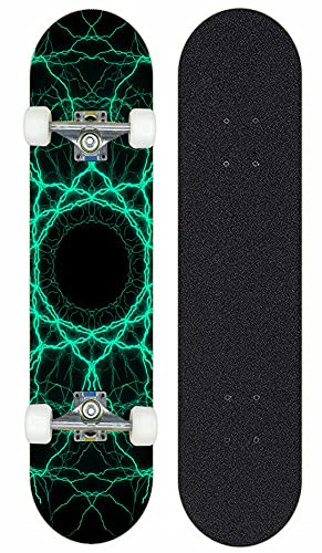 kinderskateboards,Lightning-Stil-Skateboard, 7 Schichten aus Ahorn-Doppel-Kick-Trümmer-Skateboard, geeignet für Kinder Teenie Erwachsene Mädchen Junge-J Silberhalterung.