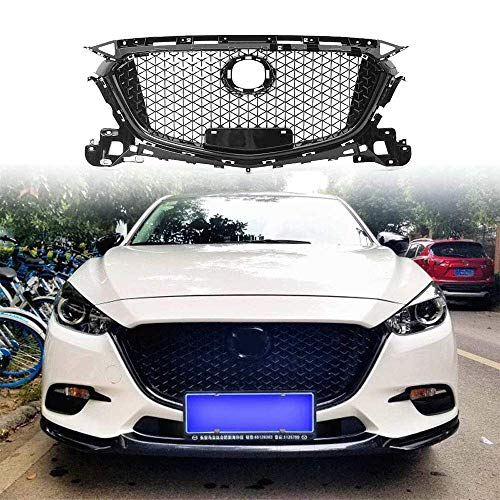LBHUAJIA Custom Front Car Center Grille Bumper Cover Grill Grills Front Overlay Cover Fit For Mazda 3 Axela 2017 2018