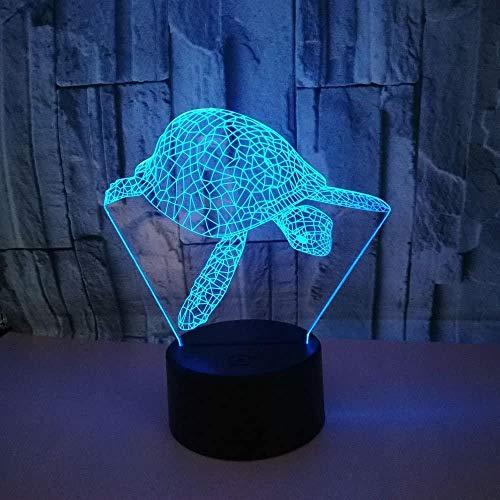 3D tortue de mer veilleuse USB interrupteur tactile décoration table buró ilusión lampe 7 couleur changeante lampe LED lampe de table Home Love Brithday enfants enfants décoration jouet cadeau