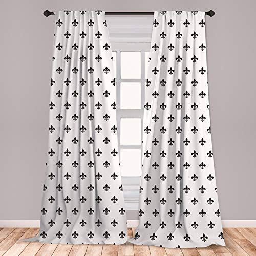 """Ambesonne Fleur De Lis 2 Panel Curtain Set, Pointed Leaves with Monochrome Design Abstract Classical Ornamental Pattern, Lightweight Window Treatment Living Room Bedroom Decor, 56"""" x 84"""", Charcoal"""
