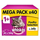 Whiskas 1+ Years Cat Pouches Poultry Selection in Jelly, 40 x 100g (4 kg)