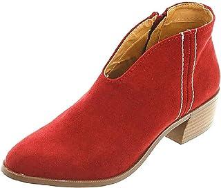 ab4ac648a65463 Tomwell Boots Femme Imprimé Léopard Bottine Femmes Basse Plates Daim Bottes  Talon Chic Compensées Grande Taille