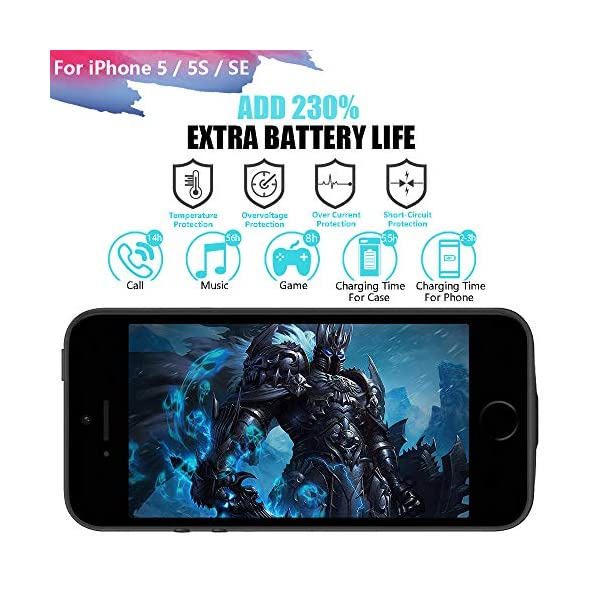 Runsy Battery Case Compatible With Iphone 5 5s Se 4000mah Rechargeable Extended Battery Charging Case External Battery Charger Case Adds 23x Extra Juice 4 Inch