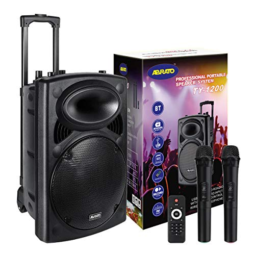 Karaoke Machine for Adults and Kids, Abrato 12'' Woofer Bluetooth PA System, 2 Bonus Wireless Microphone, Rechargeable Speaker - Audio Recording for / Meeting / Performance