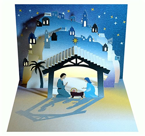 Forever We Pop Up 3D Karte Weihnachten Grußkarte Weihnachtskrippe Jesus 16x11cm