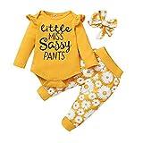 Conjunto de ropa de manga larga con volantes para bebés recién nacidos, con diseño de girasol, 0 – 24 m