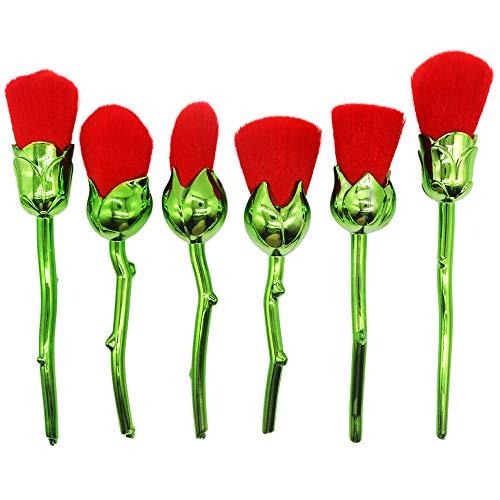 King Love Star Roses Vorm make-up borstels set 6 Stks Rose Rode Roos bloem cosmetica tools Make-up borstel Foundation Poeder Blush borstels green handle
