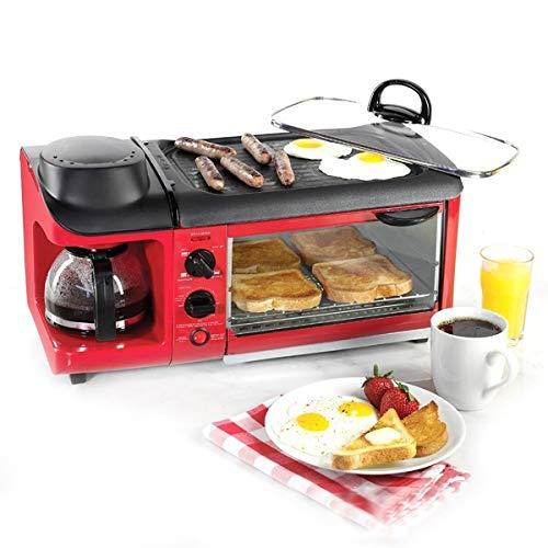 OOFAT 3 En 1 De Múltiples Funciones De La Estación De Desayuno 4 Copas Cafetera Tostadora Horno De Asar 4 Rebanadas De Hogares Desayuno Que Hace La Máquina