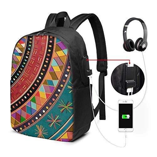 Lawenp Mochila para portátil, Mochila para Colegio Universitario de 17 Pulgadas con Puerto de Carga USB, Mochila Informal para Viajes (Colorido Tribal étnico Azteca)