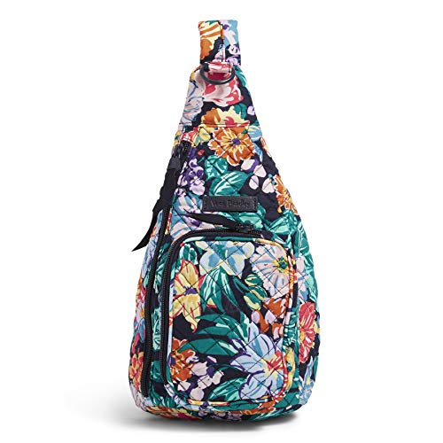 Vera Bradley women's Signature Cotton Sling Backpack, Happy Blooms, One Size